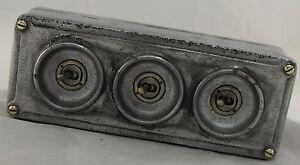 NEW Cast Metal Vintage Industrial 3 Gang Light Switch - BS EN Approved