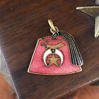 Vtg Shriner Fez Tassel Enamel on Brass Charm Pendant Freemason