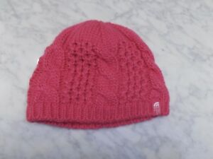 NEW The North Face Cable Knit Minna Beanie Hat Cabaret Pink Youth Kids Girls M