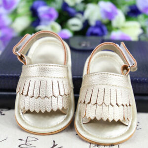 Infant Baby Girls Sandals Toddler Anti-slip Rubber Sole Tassel Breathable Shoes