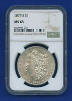 1879 S NGC MS63 Morgan Silver Dollar $1 US Mint 1879-S NGC MS-63 PQ Coin !