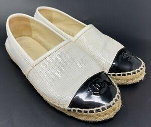 Authentic CHANEL G33 Coco Mark Spangle Espadrilles Flats #36 US 6.5 White Black