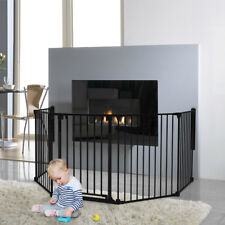 X-LARGE BLACK STEEL CHILD BABY SAFETY FIREPLACE SCREEN BARRIER PLAYPEN + GATE