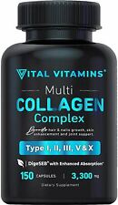 Vital Vitamins Multi Collagen Complex - Type I, II, III, V, X, Grass Fed, Non-GM