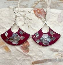 MEXICAN EARRINGS Sterling Silver Plated Mother Of Pearl Shell Inlay Floral Style