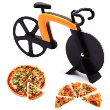 Orange/Purple Bike-shaped Pizza Cutter Knife Bycicle Fun Dispaly Kitchen utensil