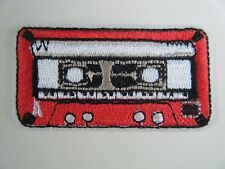 CASSETTE TAPE PATCH Embroidered Iron On RED BADGE Vintage Radio Hi-Fi Music NEW