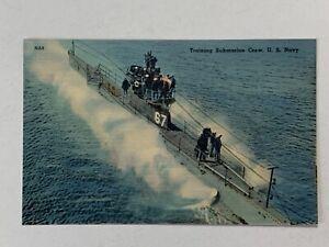 Vintage Linen Postcard of US Navy training Submarine type O military