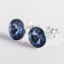925 STERLING SILVER STUD EARRINGS PIERCED *DENIM BLUE* CRYSTALS FROM SWAROVSKI®