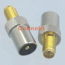 1pce IEC DVB-T TV PAL male plug to SMA female jack RF adapter connector