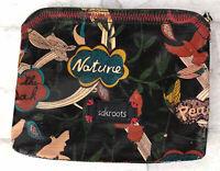 "Sakroots Peace Black Birds Tropical Coated Canvas Zippered Makeup Bag 8x6.5"""