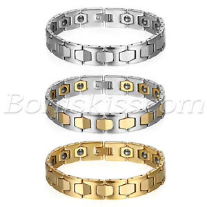 Men's Polished Tungsten Carbide Magnetic Energy Therapy Power Bracelet Golf Link
