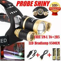 Headlamp 8500Lm XML T6+2R5 3 LED Head Light Torch+Car/USB Charger+2X18650A