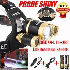 Headlamp 8500Lm XML T6+2R5 3 LED Head Light Torch+Car/USB Charger+2X18650