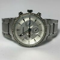 Fossil Womens FS4470 Silver Tone Swaroski Crystal Chronograph Analog Wristwatch