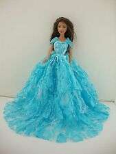 Long Blue Lacy Gown with Attached Shoulder Wrap Made to Fit Barbie Doll
