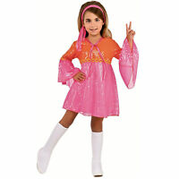 Child Girl's 60s Pink Go Go Dancer Halloween Costume Dress Head Scarf Boot Tops