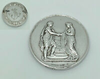 Antique French Sterling Silver Christian Marriage Medallion Token - Montagny