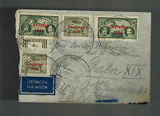1934 Warsaw Poland Cover to Czechoslovakia Challenge Air Race Overprinted stamps