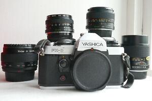 Yashica FX-D Quartz SLR film camera with 28mm, 50mm & 135mm lenses + macro