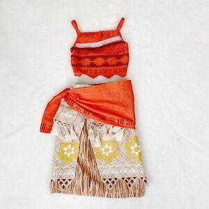 Disney Store Moana Costume Size 4 Orange Skirt Top Sash Halloween Dress Up