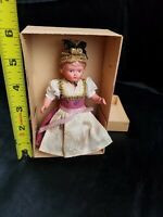 Antique TURTLE MARK celluloid GERMAN costumed DOLL blue eyes chubby legs DETAIL