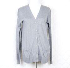 Lacoste Women's Cardigan Sweater Size 38 US 6 Gray Silk Cotton Blend Long Sleeve