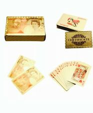 24K Carat Gold Foil Plated Full Poker Playing Cards £50 Pound With Box Gifts