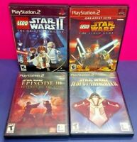 Star Wars Episode III, Starfighter, Lego 1 2 PS2 Playstation 2 Tested 4 Game Lot