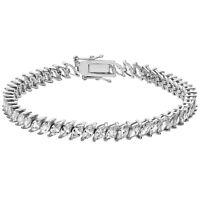 Ladies Fine Sterling Silver CZ Marquise Bracelet British Hallmarked