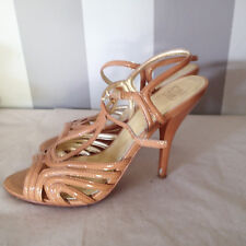 JOAN  DAVID SHOES STRAPPY SANDALS 8M HEEL ANKLE PATENT LEATHER OPEN TOE CV