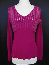 Apt. 9 Sweater Burgundy Long Sleeve V-Neck Sequin Detail Large #1050