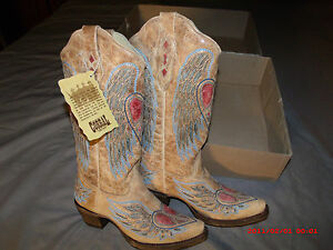 Corral Ladies Cowboy Boots sz. 5 & 6 Antique Saddle/Blue Jean Wing & Heart A1976