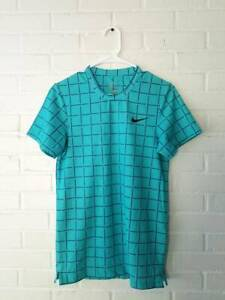 NIKE DRY FIT XS Teal Purple Check Workout T Shirt womens Golf Running Yoga