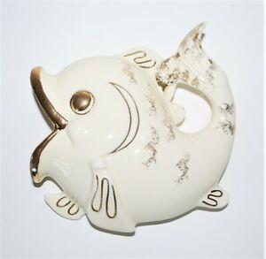 Vintage Ceramic Fish Gold Trim Ceramic Bathroom Wall Hanging Topline Imports Inc