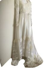 Bridallure~Vtg 70s Alfred Angelo Romantic Lacy Tiered Party Dress Ruffle~Prarie