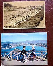 LOTE 2 POSTALES PLAYA DE LA CONCHA SAN SEBASTIÁN 1947 Y 1967