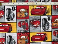 Disney Pixar Cars Print Cotton Fabric Craft Quilting FQ by the Metre