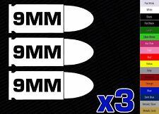 x3 - 9MM Pistol Decals AMMO CAN LABEL STICKER RUGER GUN COLT WINCHESTER