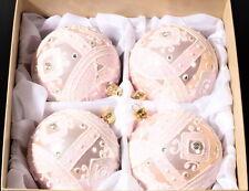 Luxury set (4) hand blown glass pink metallic crystal Christmas tree baubles