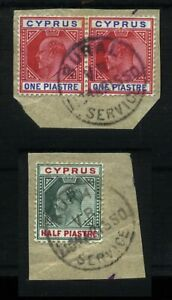 1902-11 CYPRUS Edward VII RURAL/VR/SERVICE cancels on stamps two letter pieces