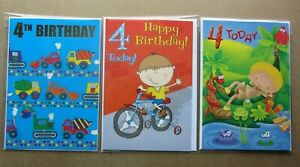 Happy 4th Birthday Boy Cards. Multiple designs. Select one card.