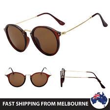Womens Round Brown Frame Retro Fashion Sunglasses