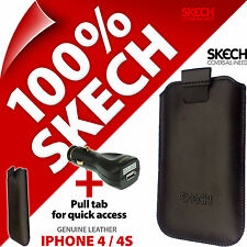 Skech Pouch Pull Tab GENUINE LEATHER Case for iPhone 4 / 4S + USB Car Charger