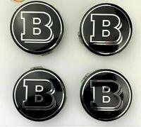 Set of 4 BRABUS BLACK Mercedes Benz Alloy Wheel Centre Caps 75mm Hub Badges 4PCS