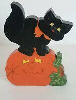 "VINTAGE WOODEN 6.5"" HALLOWEEN BLACK CAT WITH PUMPKIN SHELF DECOR c1"