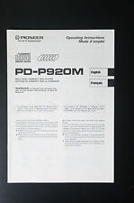 PIONEER PD-P920M Original Operating-Manual/Anleitung/Instruction France/English