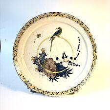 Rare Assiette Faïence De Nevers XVIIIe Oiseau perché Orientaliste