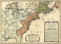 1756 Map French and Indian War Wall Art Poster Print Home School History Vintage
