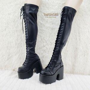 "Camel 300 Platform 5"" Heel Stretch Lace Up Goth Punk Thigh Boots Black Matte NY"
